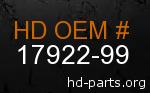 hd 17922-99 genuine part number