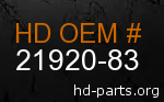 hd 21920-83 genuine part number