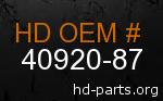 hd 40920-87 genuine part number