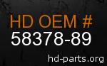 hd 58378-89 genuine part number