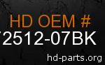 hd 72512-07BK genuine part number