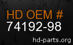 hd 74192-98 genuine part number