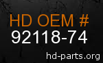 hd 92118-74 genuine part number