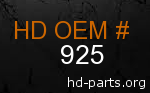 hd 925 genuine part number