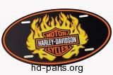 DMS Harley-Davidson Oval Flame Logo Auto Lice